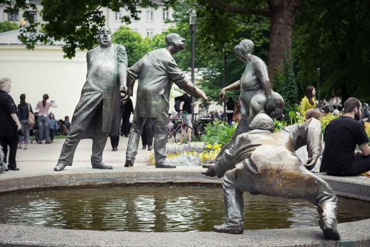 statue aachen deutchland germany four men fountain