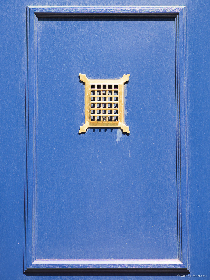 a part of a blue entrance door
