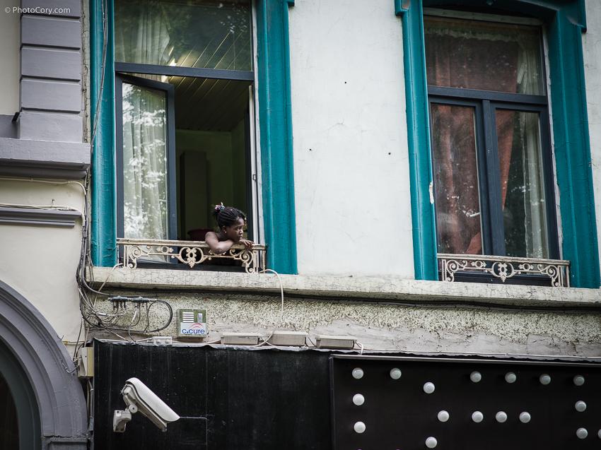 african girl window