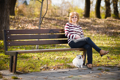 Mom with dog in park