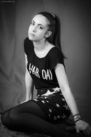 indoor black and white portrait