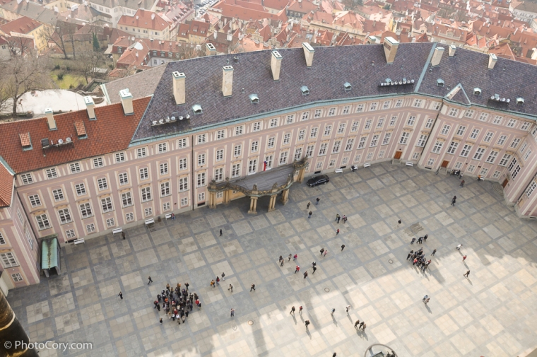 prague castle courtyard from tower