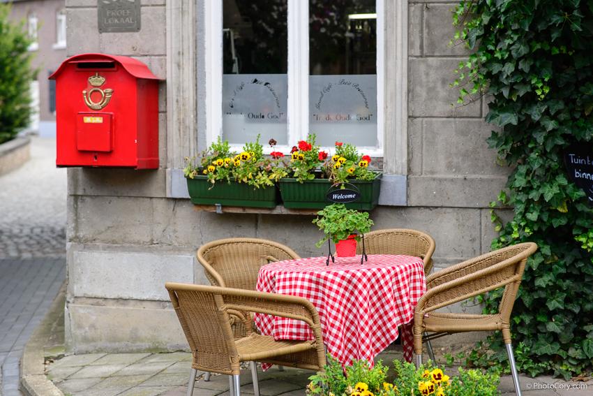 restaurant table and postoffice box in oud rekem belgium