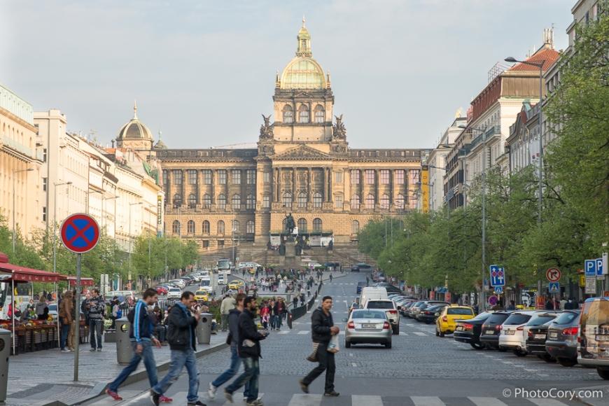 venceslas square and national museum prague
