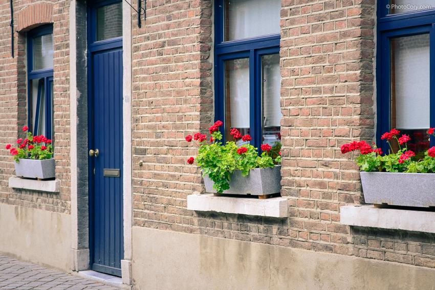 village oud rekem blue windows and flowers