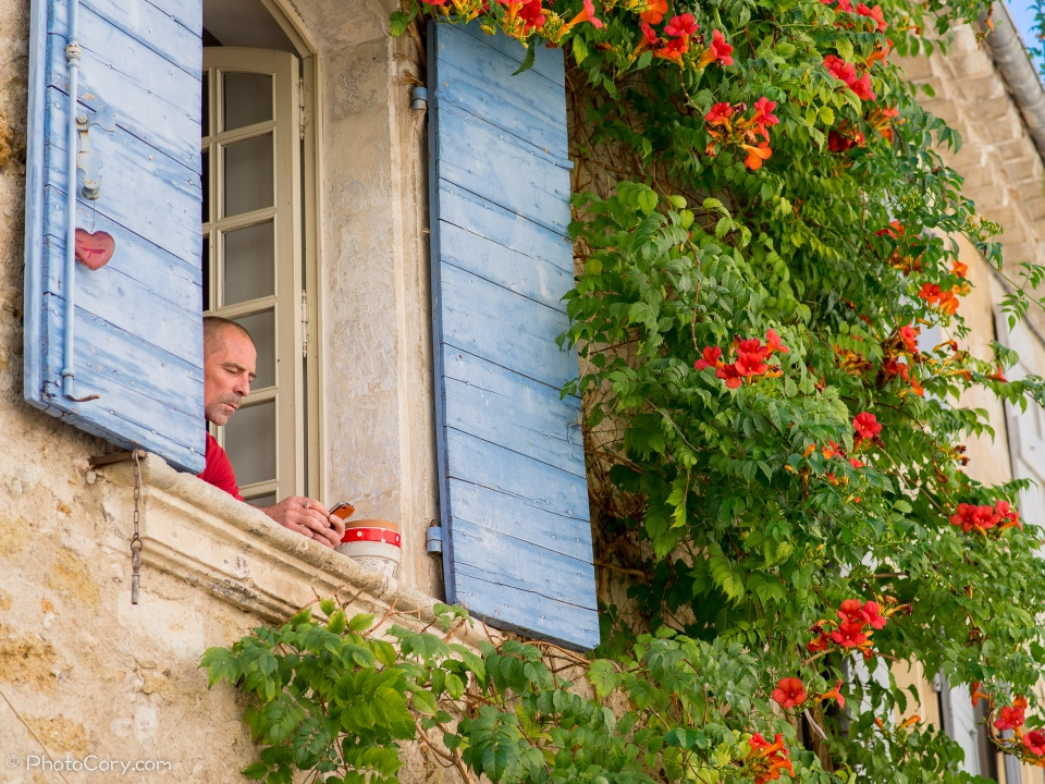 Lourmarin man at window