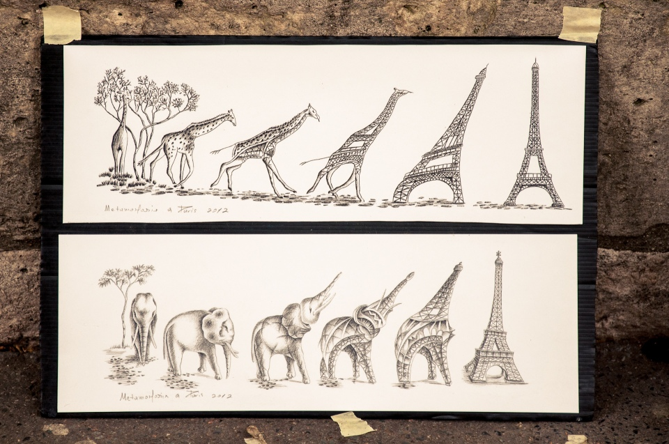 drawing eiffel tower giraffe elephant