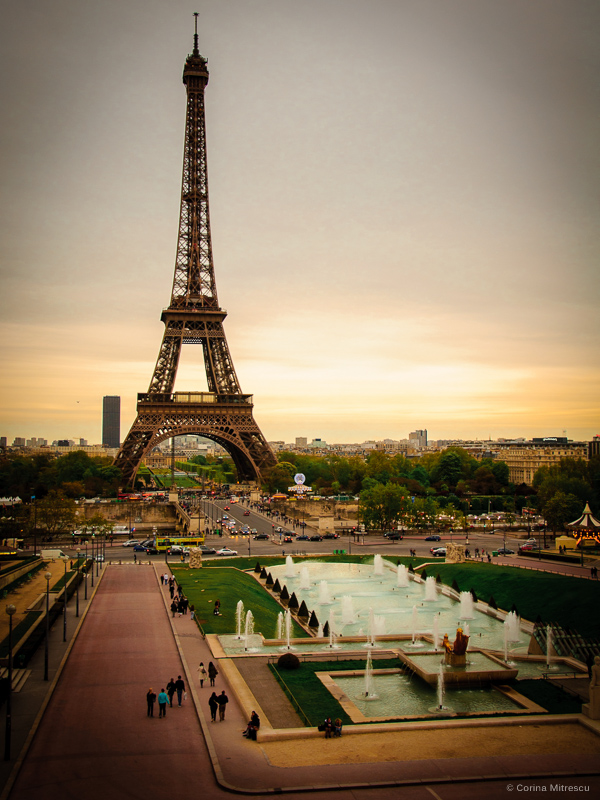eiffel tower sunset light