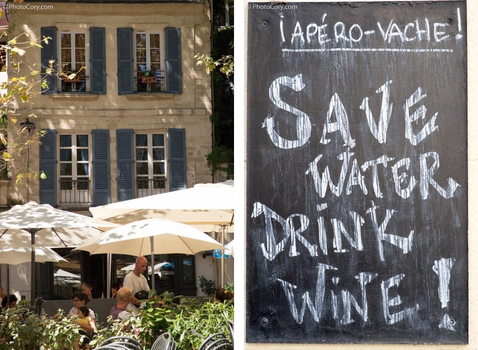 save water  drink wine avignon