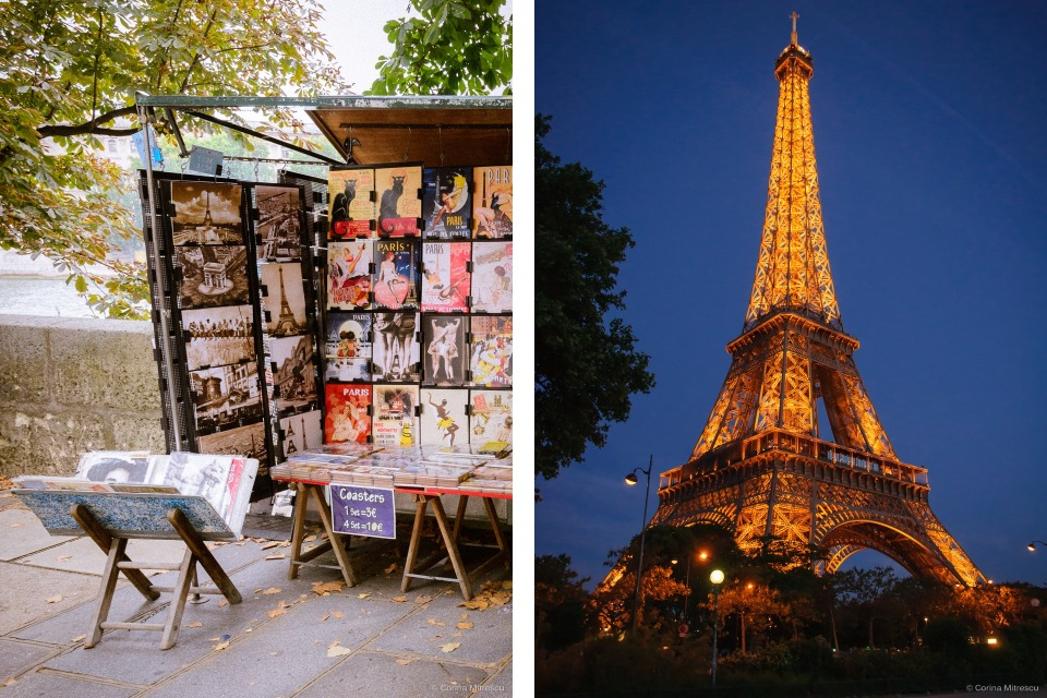 seine postcards and eiffel tower paris