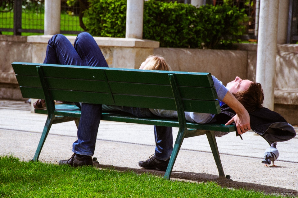sleeping on bench in paris