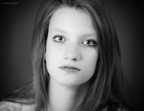 black and white girl portrait studio