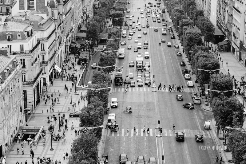 champs elysees, view from arc de triomphe,