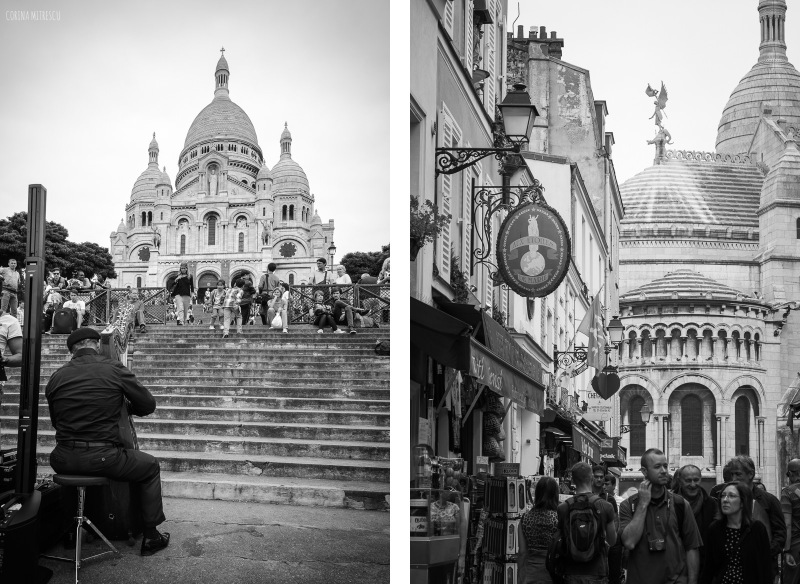 montmartre, paris, cathedral, black and white