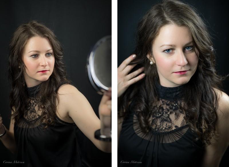 portrait woman studio lace blouse