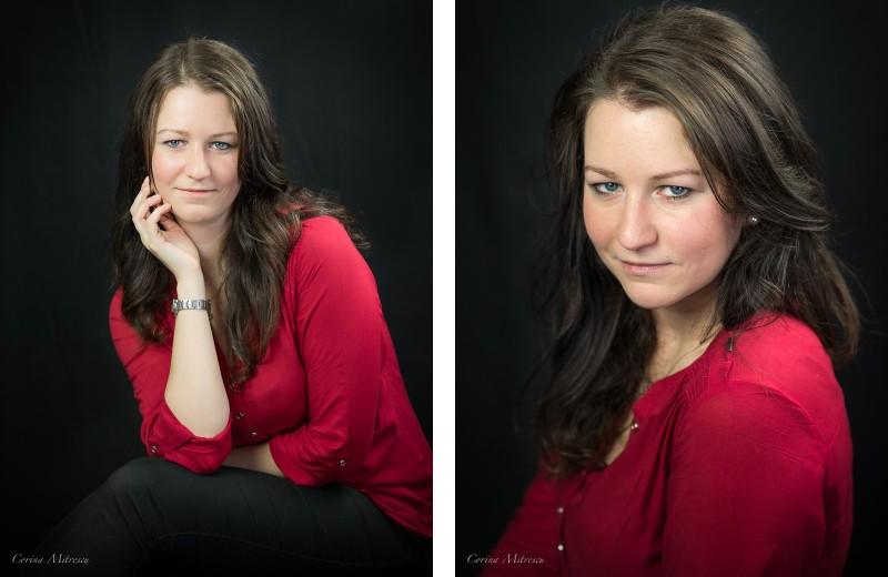 studio portrait red blouse