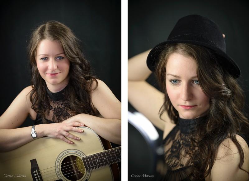 studio portrait woman guitar hat