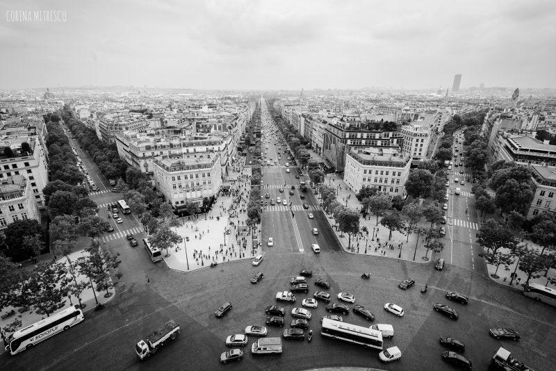 view from triumph arch, streets, paris, france