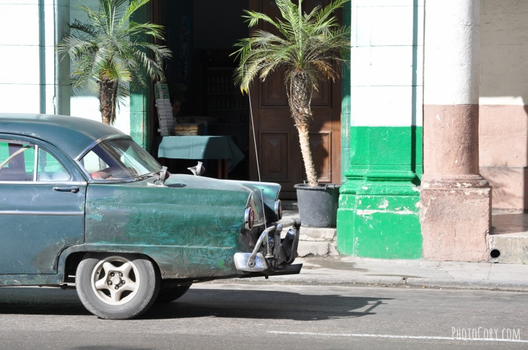 green old car havana