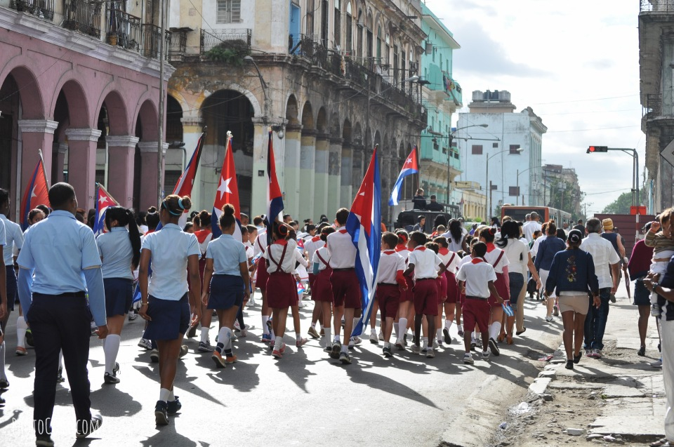 marching on jose marti day in cuba