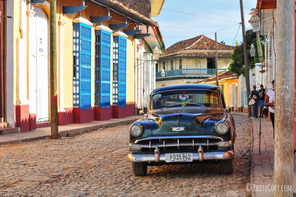 old american car on a street in trinidad cuba