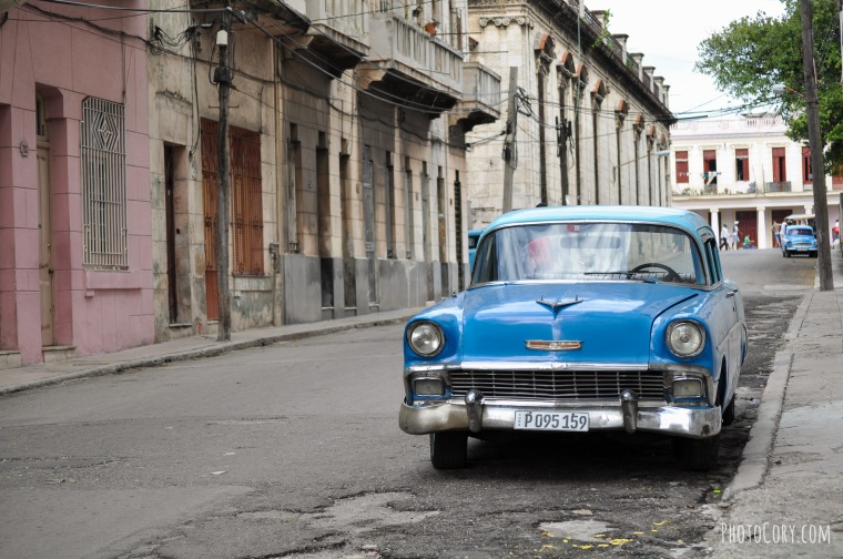 old blue car havana street