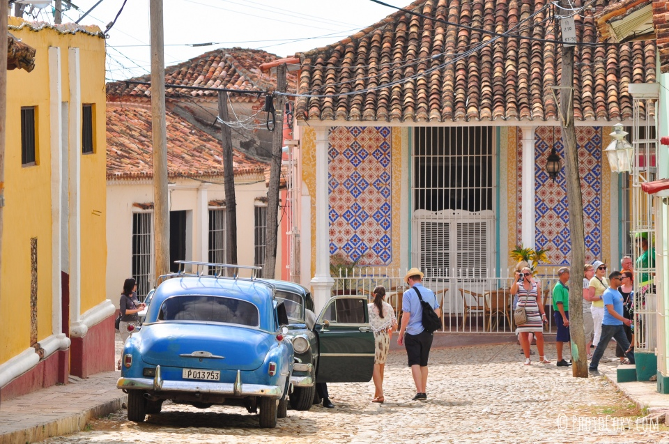 old car and street in cuba trinidad