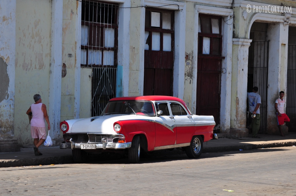 old car white and red in cuba