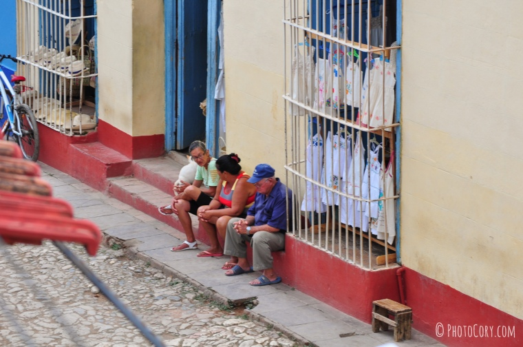 people on stairs in cuba