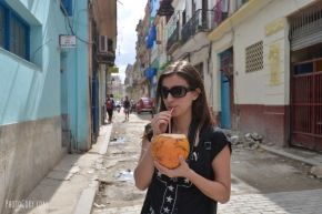 sipping a coconut