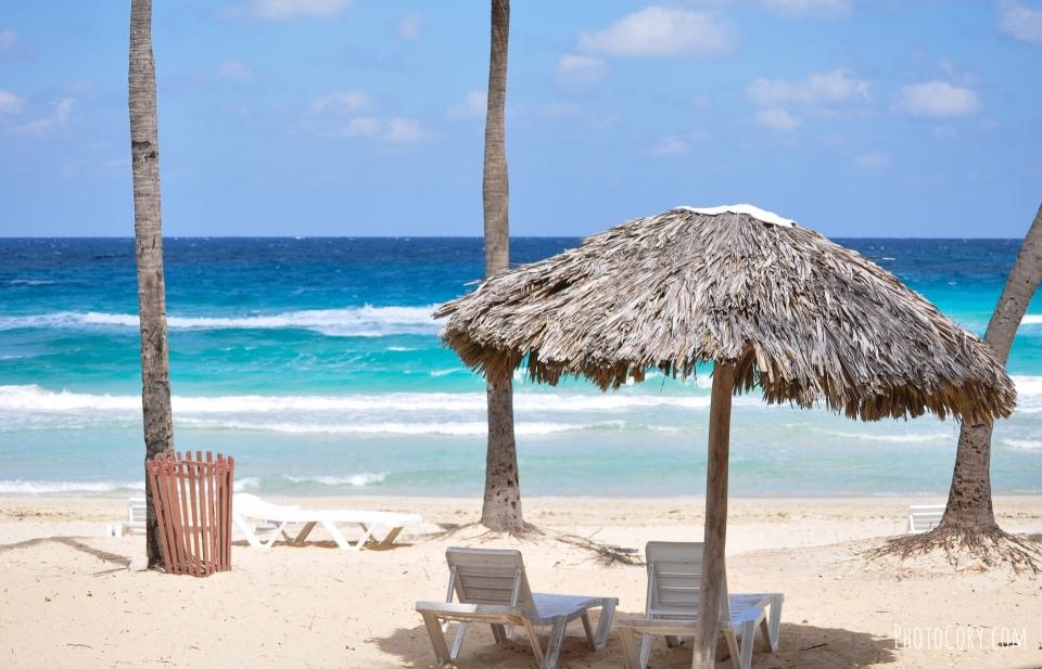 straw umbrella beach habana