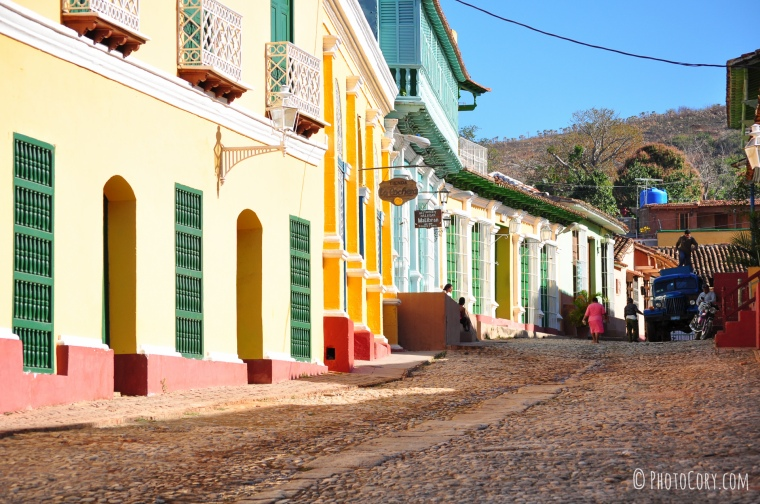 trinidad street with colored houses in cuba