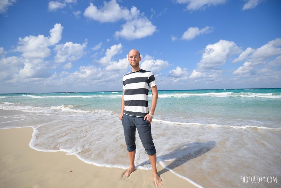 V on the beach