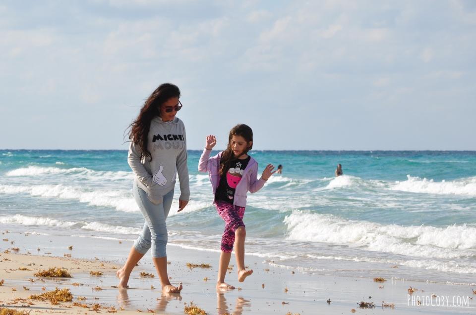 walking on beach in cuba