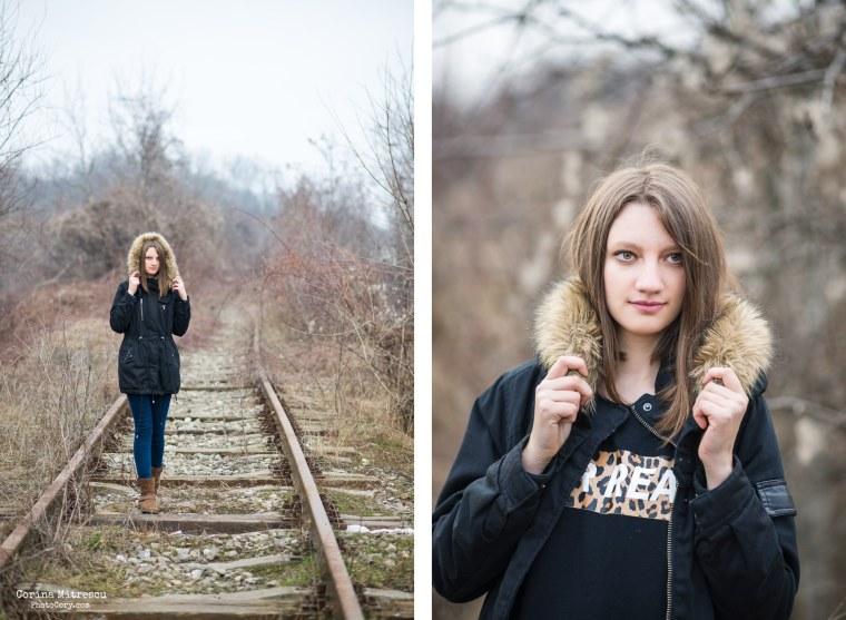 portrait on train rail