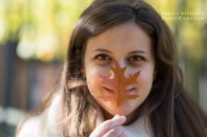 portret cu frunza