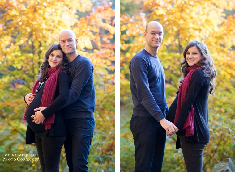 fall pregnancy couple photo