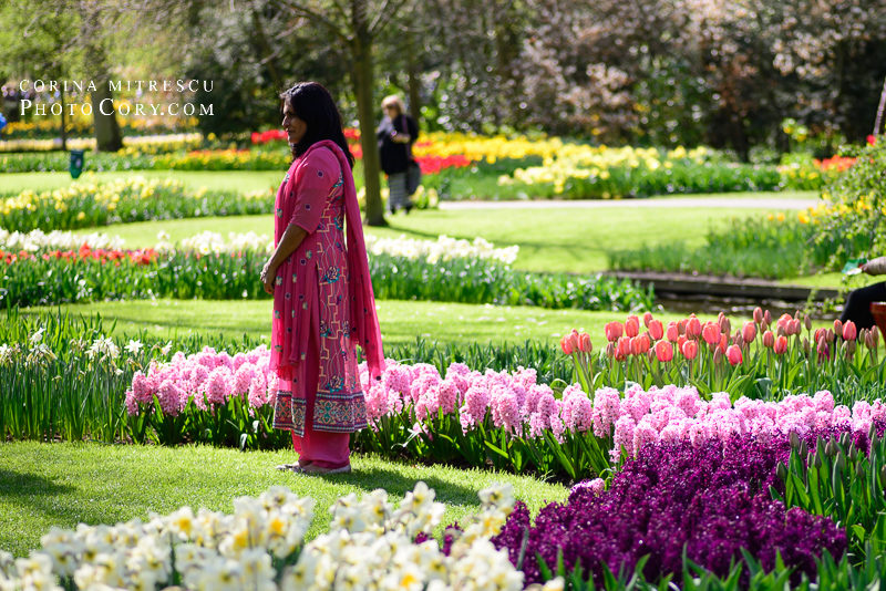 indian lady and flowers at keukenhof in holland